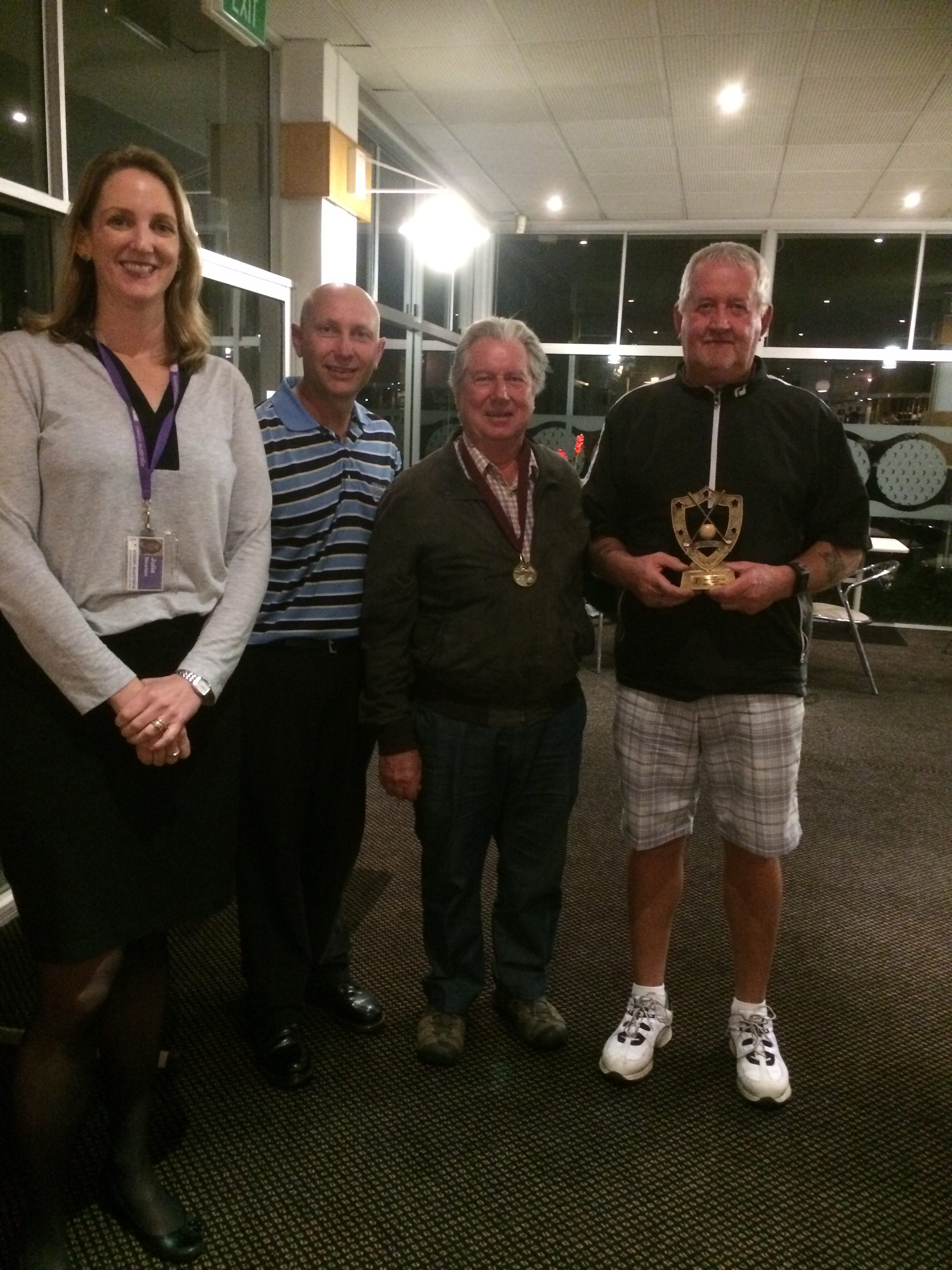 Inaugural Queensland Open Champion Stephen Mitchell pictured with his caddy Robin Bechly, Julie Newton Vision Australia and Andrew Halliday Virginia Golf Club.